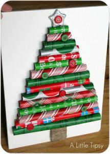 包装紙で作ったクリスマスツリー