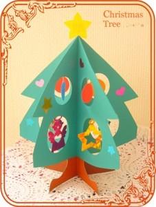 モミの木型の紙で作ったクリスマスツリー